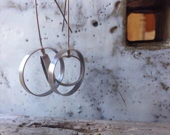 Double Orbit Hoop Earrings, Large, sterling silver on sterling wires