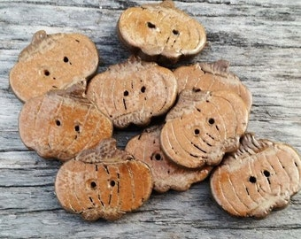 ONE Primitive Pumpkin Ceramic Button Connector Beads Rusty Orange Rustic Earthy handmade buttons knitter sewing Jewelry Components Unique
