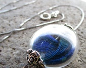 Peacock Feather Blown Glass Locket Necklace in Sterling Silver Sliding Glass Pendant Filled with Real Peacock Feathers in a Globe