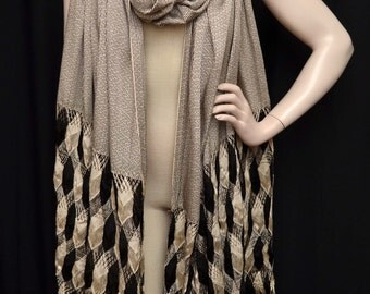 Vintage 20s Enormous Art Deco Ivory and Black Woven Silky Rayon Shawl Wrap