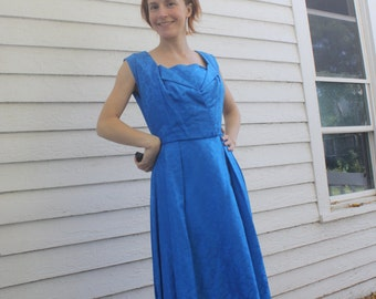 Blue Brocade Party Dress Vintage 60s 1960s Floral Sleeveless M S