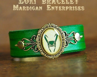 Loki handmade green leather bracelet, geeky cosplay