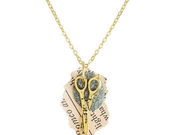 Rock Paper Scissor Necklace (gold)