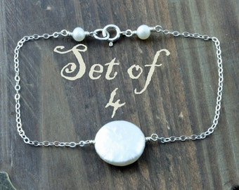 Bridal Party Bracelets, Set of 4, Bridal Party Gifts, Fresh Water Coin Pearl and Sterling Silver Stacking Bracelet