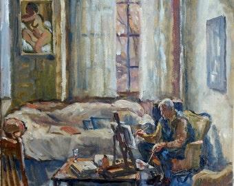 Studio Light, Frank Curran Painting in Studio. 12x12 Impressionist Oil Painting on Canvas, Realist Interior Study, Signed Original Fine Art