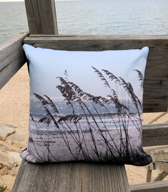 Beach Theme Blanket: Beach Theme Pillow Cover Sea Oats Beach Photo By MyBeachWishes