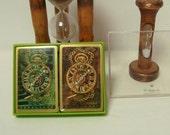 Card Decks 2 Clocks Hallmark Sealed Playing Cards Pocket Watach Vintage