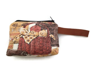 Zipper Pouch - Repurposed Vintage Tea Towel - Boulangerie - Makeup Case - Credit Card Case - Coin Purse - Handmade