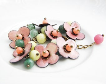Waterlily - enamel bracelet - floral enamel bracelet with gemstones - flower - ooak