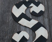 Letter S Chevron door hanger, wall decor --approx. 22 inches tall