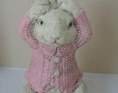 Reserved for Sharon VINTAGE RABBIT with Pink Sweater/ Peter Rabbit/ Alice in Wonderland Rabbit