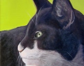Black and White Cat Print on Lime Background for 16 x 16 Frame - Black and White Cat Art  - Ten Percent Benefits Animal Charities