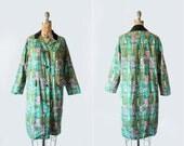 vintage 1960s coat - single breasted - abstract print 60s jacket - Medium - emerald green