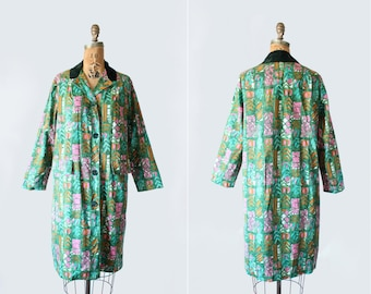 vintage 1960s coat - single breasted - abstract print 60s jacket - Medium - emerald green