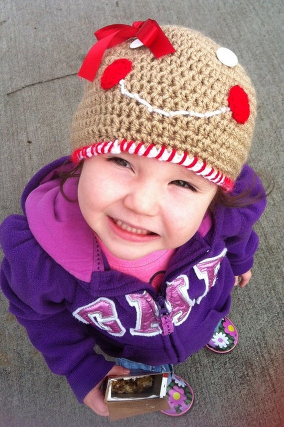gingerbread hat - Gingerbread girl hat - Gingerbread man hat - Babies to adult sizes - Girls beanie hat - girls winter hat