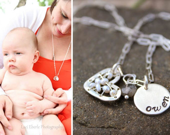 Stitched Heart Mommy Necklace