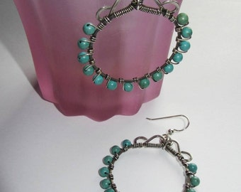 Hoop earrings, Sterling Silver, Wire wrapped, Turquoise Magnesite, artisan, gypsy, boho, hippie, hipster, trendy, southwestern, gemstone