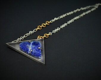 Lapis heart Silver Necklace