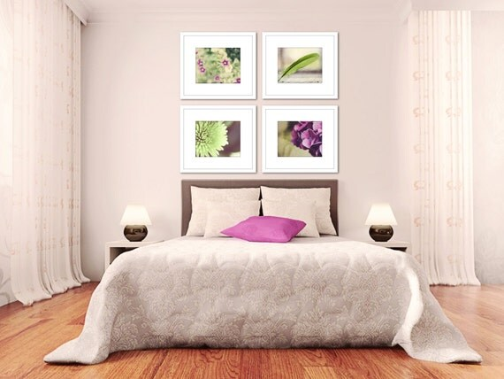 Bedroom Art Purple Floral Picture Set Living Room By TheGinghamOwl