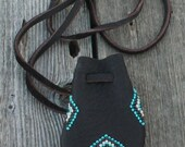 Beaded medicine bag , Beaded necklace bag