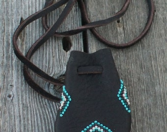 Beaded medicine bag , Beaded necklace bag