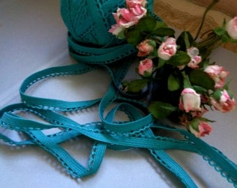 "5 Yards of 3/8"" Wide Hand Dyed Bluish Teal Lingerie Headband Elastic with Decorative Scalloped Picot Edge Stretch Lace ST 102914"