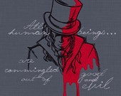 Dr. Jekyll and Mr. Hyde Embroidered Cotton Hand or Kitchen Towel