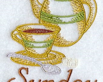 7 Embroidered Kitchen Towels - Days of the Week (DOW) - Coffee Break Design