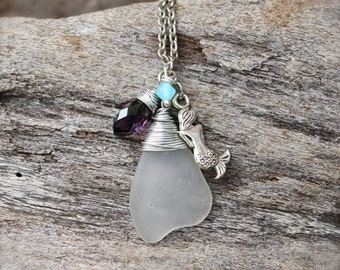 Mermaid Necklace - Seaglass Jewelry from Hawaii - Mermaid Jewelry made in Hawaii - Sea Glass Necklace - Sea Glass Jewelry - Beach Necklace