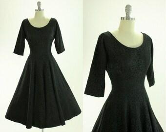 1950's Black Lace Jonathan Logan Dress S M Full Skirt 3/4 Length Sleeves