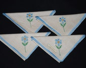 Vintage Irish Linen Blue Daisy Cocktail Napkins - 1960's Mod Flower Power Design - Set of 4 with Tags - New Never Used