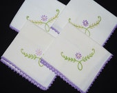 Vintage Lavender Floral Daisy Woven Cotton Muslin Cocktail Luncheon Napkins - Set of 4 - Embroidered Crocheted Cotton Trim Edge