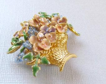 Gold Flower Basket Brooch Pastel Enamel Pin