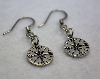 Compass Earrings in Silver - Adventure Jewelry, Steampunk Jewellery, Nautical, Travel, Explore, Outdoors, Hiking, Camping, Orienteering, Map