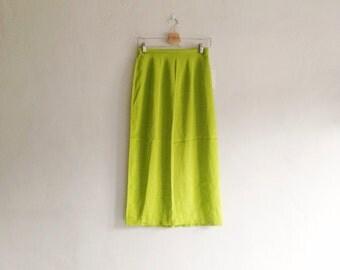Vintage Silk Skirt - 1990s Deadstock High Waisted Neon Silk Midi Skirt