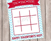 INSTANT DOWNLOAD Tic Tac Toe Valentines Treat Cards - Digital/Printable - DIY