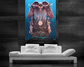 Angel painting tree of life painting canvas print