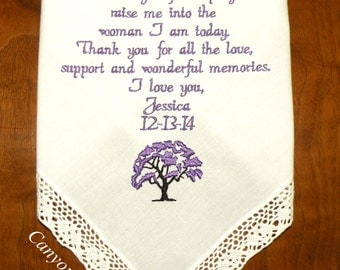 Married Under a Tree, Embroidered Wedding Handkerchief, Wedding, Wedding Gift, Gifts, Handkerchief, Wedding Hanky By Canyon Embroidery