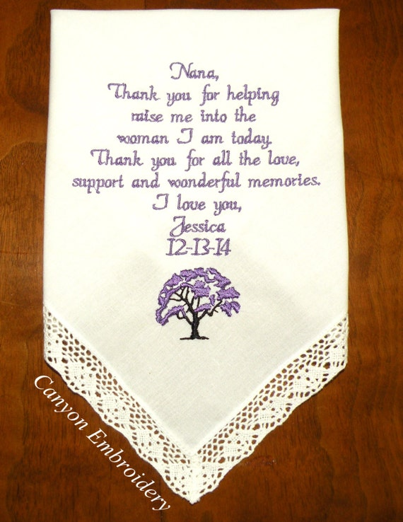 personalized tree print wedding handkerchief