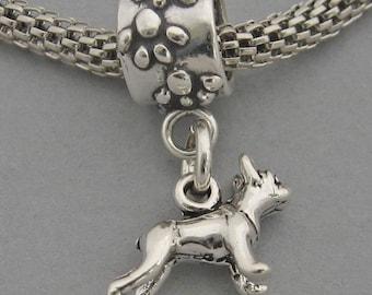 BOSTON TERRIER Dog Sterling Silver 925 European Dangle Paws Bead Tiny Miniature Charm 3542