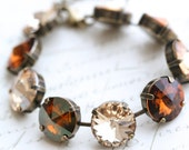 Topaz Crystal Bracelet, Topaz Bracelet, Multicolored Crystal Bracelet, Champagne Bracelet, Rivoli Crystal Bracelet, Swarovski Topaz