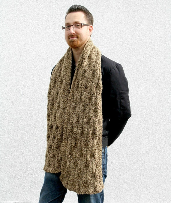 Hand Knitted Scarf, Stole, Camel Brown Mens Scarf, Chunky Knit Scarf, Winter Fashion, Autumn Accessories, Knot Pattern - Camel Brown Taupe