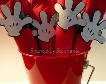 Mickey Mouse Glove Napkin Rings with Silverware & Utensils - Set of 12+