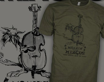 Charles Mingus Jazz Bass T-Shirt - Hard Bop - Moanin Alley Cat - Upright Bass Shirt