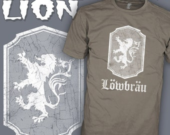 Lowbrau Lion Shirt - Lowbrow Lion Shirt - Kustom Kulture Funny Tee - Lowenbrau Lion - Juxtapoz Beer Art T-Shirt