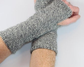 Knit Fingerless Gloves Gray White Handwarmers Fingerless Glove Mittens Long Knit Gloves Hand Knit
