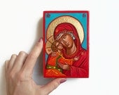 Virgin Mary with Christ child Icon, Eleusa original icon, 6 X 4 inches handpainted orthodox icon