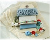 Vintage Ribbon Lace and Button Inspiration Muslin Bag Kit Red White and Blue