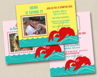 Southern Crawfish Boil Custom Boy or Girl Birthday Party Invitation Design with or without photo