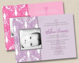 Our Little Blessing Custom Baptism or Christening Announcement or Birth Announcement Design